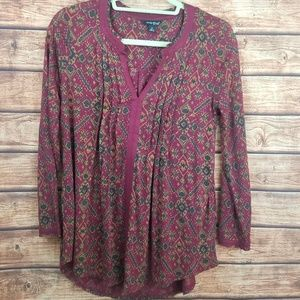 Lucky Brand small womens maroon blouse
